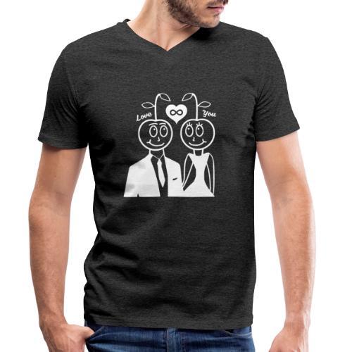Happy Kirsche Weiß - Männer Bio-T-Shirt mit V-Ausschnitt von Stanley & Stella