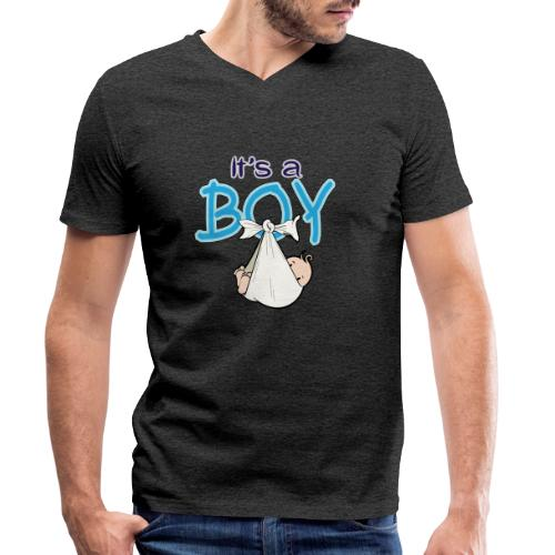 Babyshower Boy Blauw - Mannen bio T-shirt met V-hals van Stanley & Stella