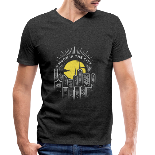 moon in the city - Men's Organic V-Neck T-Shirt by Stanley & Stella