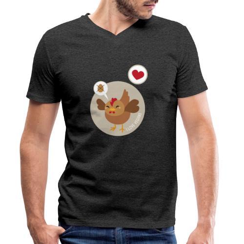 I love Vegans - Mannen bio T-shirt met V-hals van Stanley & Stella