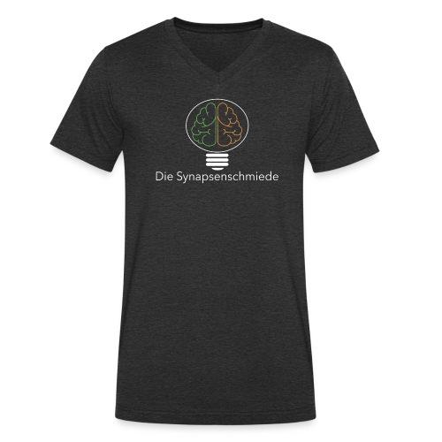 Synapsenschmiede Logo mit Schrift weiß png - Männer Bio-T-Shirt mit V-Ausschnitt von Stanley & Stella