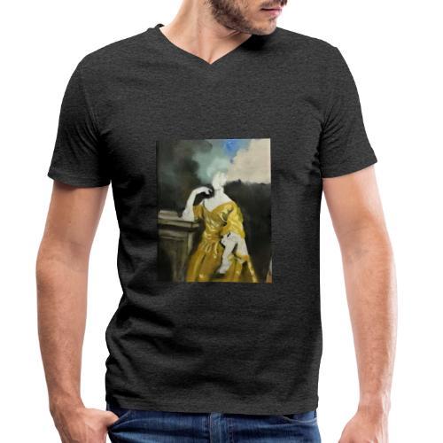 Donna sognatrice, in giallo. Arte da indossare. - T-shirt ecologica da uomo con scollo a V di Stanley & Stella