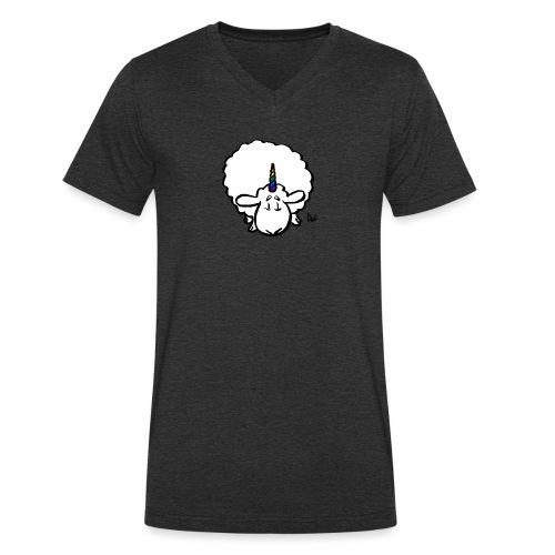 Ewenicorn - det er en regnbue-enhjørningssau! - Økologisk T-skjorte med V-hals for menn fra Stanley & Stella