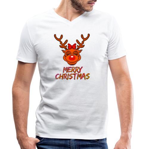 Rudolph weiblich - Männer Bio-T-Shirt mit V-Ausschnitt von Stanley & Stella