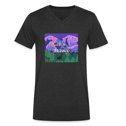 Lets Travel T-Shirt - Männer Bio-T-Shirt mit V-Ausschnitt von Stanley & Stella