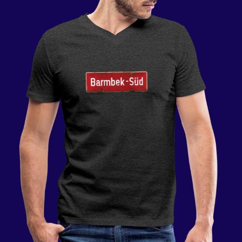 HAMBURG Barmbek Sued Ortsschild rot antik - Männer Bio-T-Shirt mit V-Ausschnitt von Stanley & Stella