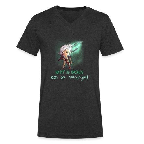 Chibi Riven con scritta - T-shirt ecologica da uomo con scollo a V di Stanley & Stella