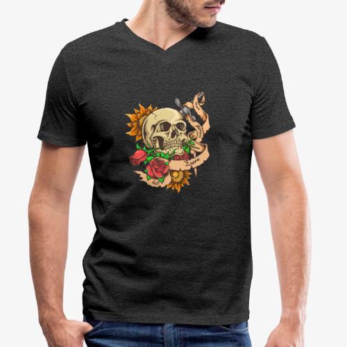 Schädel-Tattoo - Männer Bio-T-Shirt mit V-Ausschnitt von Stanley & Stella