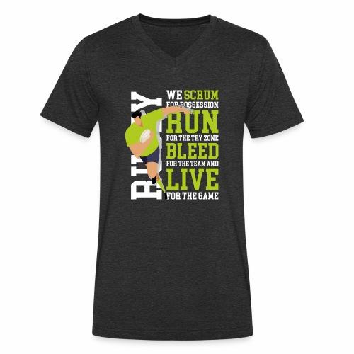 MarPlo Scrum Run Live whiteGreen - T-shirt ecologica da uomo con scollo a V di Stanley & Stella