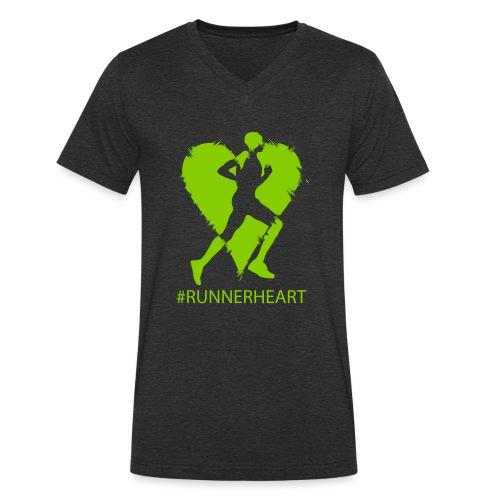 #Runnerheart man - Männer Bio-T-Shirt mit V-Ausschnitt von Stanley & Stella