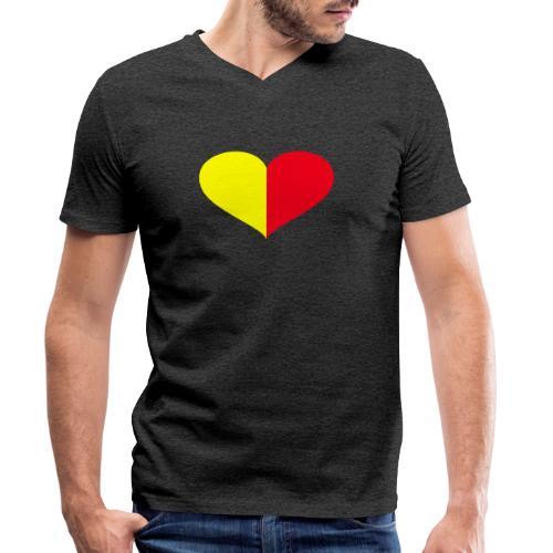 cuore giallorosso pieno - T-shirt ecologica da uomo con scollo a V di Stanley & Stella