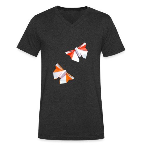 Butterflies Origami - Butterflies - Mariposas - Men's Organic V-Neck T-Shirt by Stanley & Stella