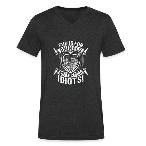 Against fur! - Økologisk T-skjorte med V-hals for menn fra Stanley & Stella