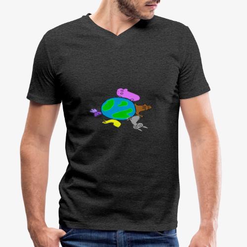 Animales malitos - Camiseta ecológica hombre con cuello de pico de Stanley & Stella