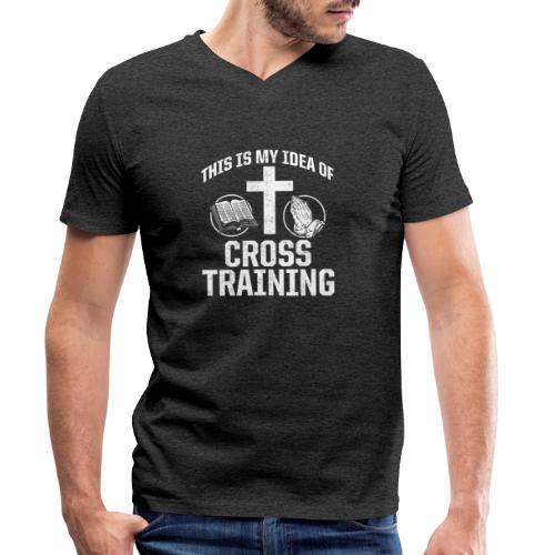 Sport mit Jesus und Bibel lesen Christen Spruch - Männer Bio-T-Shirt mit V-Ausschnitt von Stanley & Stella