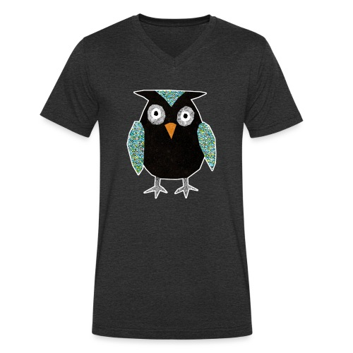 Collage mosaic owl - Men's Organic V-Neck T-Shirt by Stanley & Stella