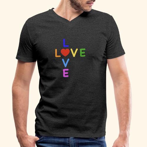 Rainbow Love. Regenbogen Liebe - Männer Bio-T-Shirt mit V-Ausschnitt von Stanley & Stella