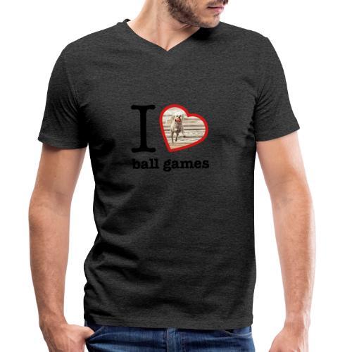 I love ball games Dog playing ball retrieving ball - Men's Organic V-Neck T-Shirt by Stanley & Stella