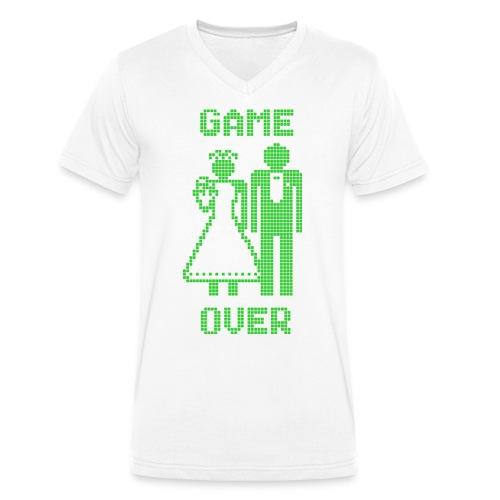 Game Over Old Skool groen - Mannen bio T-shirt met V-hals van Stanley & Stella
