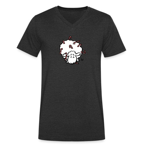 Candy Cane Sheep - Men's Organic V-Neck T-Shirt by Stanley & Stella