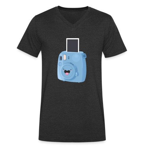 Appareil photo instantané bleu - T-shirt bio col V Stanley & Stella Homme