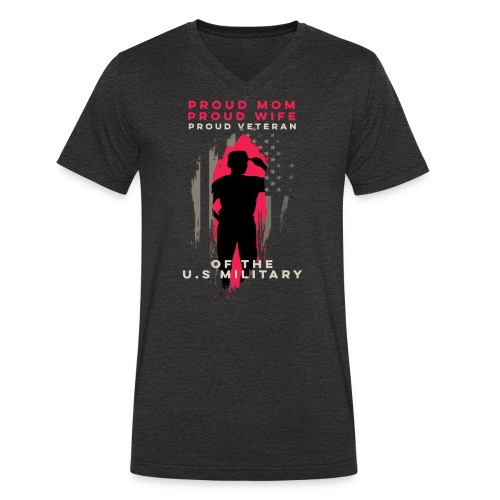 Proud Mom And Wife - Veteran Woman - Military Supp - Men's Organic V-Neck T-Shirt by Stanley & Stella