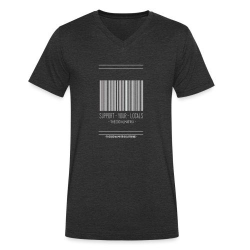 STEUN JE PLAATSELIJKE [WIT] - Mannen bio T-shirt met V-hals van Stanley & Stella