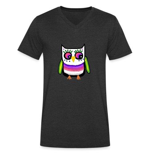 Colorful owl - Men's Organic V-Neck T-Shirt by Stanley & Stella