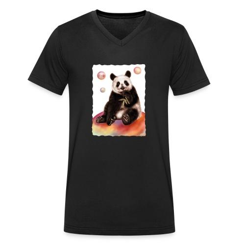 Panda World - T-shirt ecologica da uomo con scollo a V di Stanley & Stella