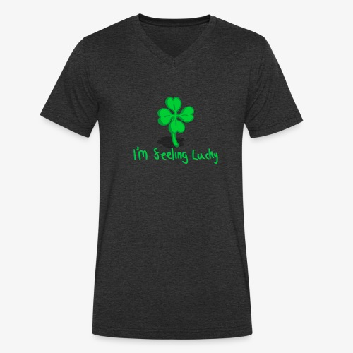 Lucky Four Leaf Clover - Men's Organic V-Neck T-Shirt by Stanley & Stella