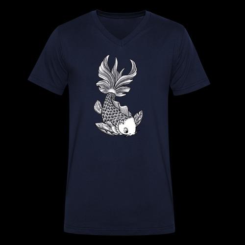 Pesce Tattoo Flash - T-shirt ecologica da uomo con scollo a V di Stanley & Stella