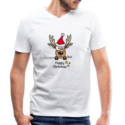 Renne Joyeux Noël - Happy Christmas, Humour, Drôle - T-shirt bio col V Stanley & Stella Homme