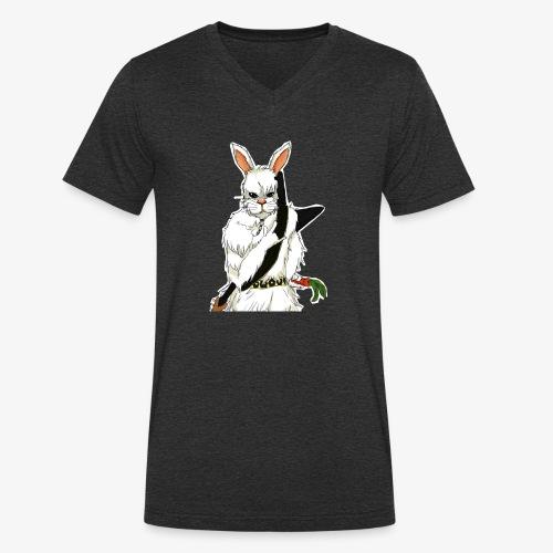The white Rabbit - Økologisk T-skjorte med V-hals for menn fra Stanley & Stella