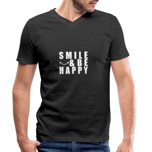 SMILE AND BE HAPPY - Men's Organic V-Neck T-Shirt by Stanley & Stella