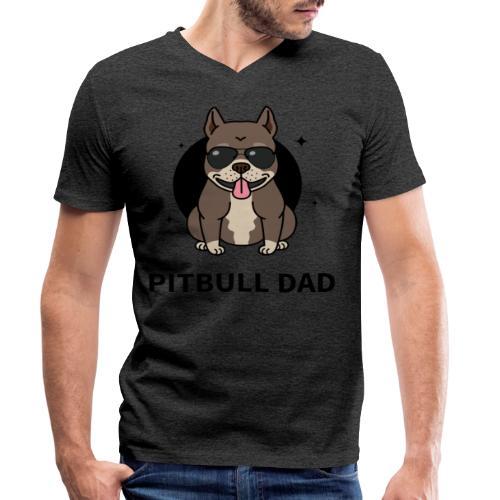 pitbull papa,dad,humour,chien,dog,animal,cadeau - T-shirt bio col V Stanley & Stella Homme