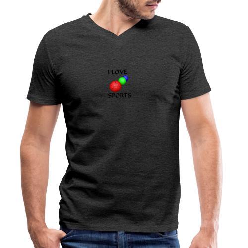I LOVE SPORTS Amantes del deporte - Camiseta ecológica hombre con cuello de pico de Stanley & Stella