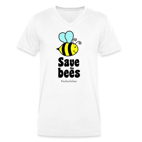 Bees9-1 save the bees   Bienen Blumen Schützen - Männer Bio-T-Shirt mit V-Ausschnitt von Stanley & Stella