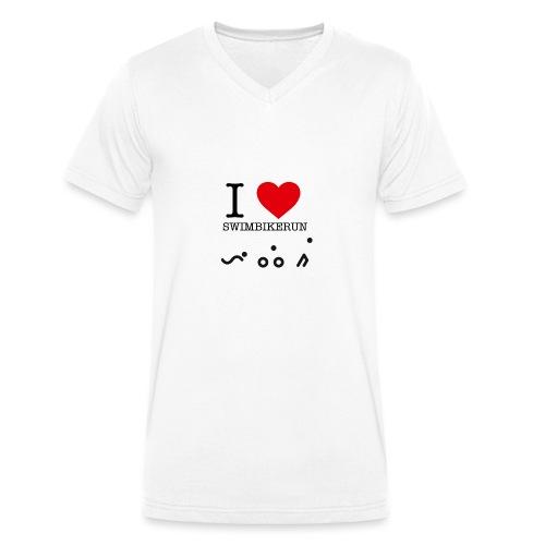 I love swim bike run - Økologisk T-skjorte med V-hals for menn fra Stanley & Stella