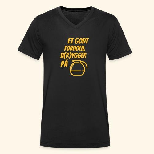 Et godt forhold, b(r)ygger på... - Økologisk Stanley & Stella T-shirt med V-udskæring til herrer