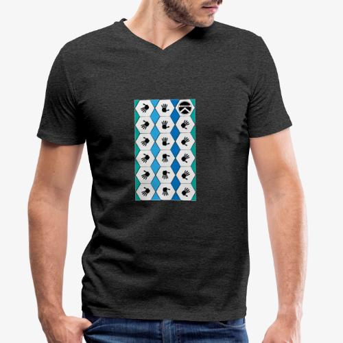  K·CLOTHES  HEXAGON ESSENCE BLUES & WHITE - Camiseta ecológica hombre con cuello de pico de Stanley & Stella