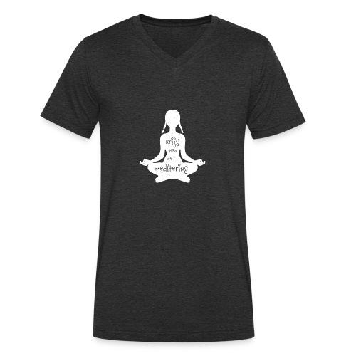 Krijgnoudemediteringwit - Mannen bio T-shirt met V-hals van Stanley & Stella