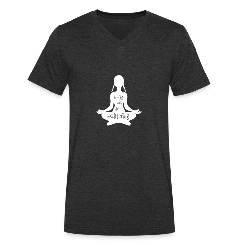 Krijgnoudemediteringwit - Men's Organic V-Neck T-Shirt by Stanley & Stella
