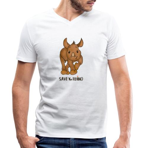 Save the Rhino - Men's Organic V-Neck T-Shirt by Stanley & Stella