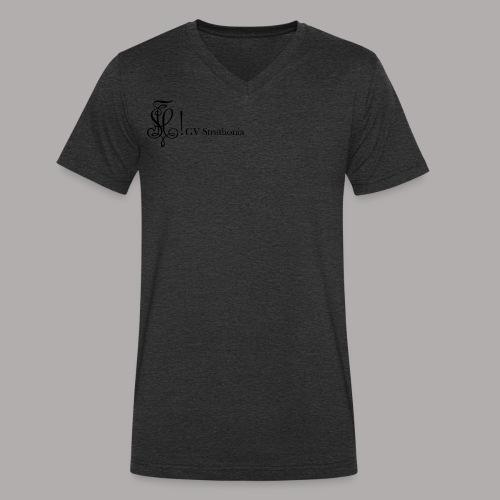 Zirkel mit Name, schwarz (vorne) - Männer Bio-T-Shirt mit V-Ausschnitt von Stanley & Stella