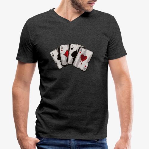 4 Asse und die NUTS - Männer Bio-T-Shirt mit V-Ausschnitt von Stanley & Stella