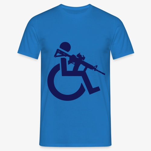 Gewapende rolstoel gebruiker met geweer, wapen - Mannen T-shirt