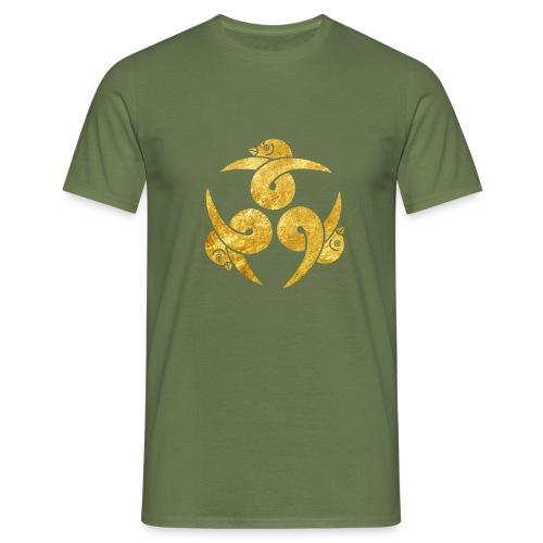 Three Geese Japanese Kamon in gold - Men's T-Shirt