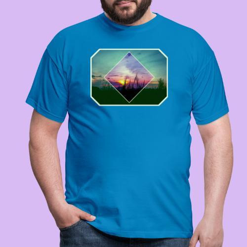 Tramonto in risalto tra figure geometriche - Maglietta da uomo