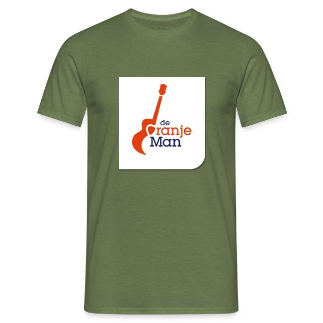 de oranje man logo groot op wit vlak