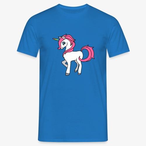 Süsses Einhorn mit rosa Mähne und Regenbogenhorn - Männer T-Shirt